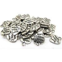 achat en gros de charms un message de coeur-200pcs / lots Pendentif en or tibétain Love Love Charms Pendentifs 13 * 10mm