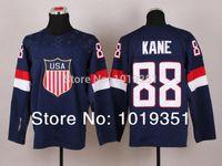 Cheap Wholesale -2014 Olympic men team American #88 KANE Jerseys Ice hockey blue all team jersey embroidery logo