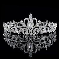Cheap Unique Wedding Bridal Princess Austrian Crystal Prom Hair Tiara Crown Veil Headband Silver Wedding Jewelry TONY741