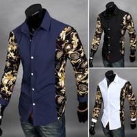 Wholesale Hot New Mens Slim Fit Casual Dress Shirt Floral Print Long Sleeve Blouse Lapel Tops