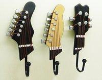 Wholesale Vintage Style Guitar design Iron Hook Hand painted Resin Hook High Quality Home Decoration