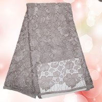 Wholesale Guarantee quality gray African heavy water soluble lace fabric HWL7 yds guipure lace cloth