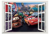 bedroom window covering - Mcqueen Cars wall stickers D Stereo wall covering America Movies Boys and Girls Bedroom Door Window Decoration Birthday Gift