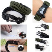 Wholesale Outdoors Survival Paracord bracelet with Flint Fire Starter Scraper Whistle for Camping Survival Military Para cord RopeTool
