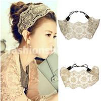 Wholesale Fashion Women Girls Hollow Lace Flower Headband Retro Hair Band Wide Head Wrap Accessories
