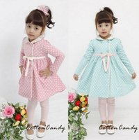 Cheap Fashion New 5pcs lot -Girls bow tie dress - Princess Polka Dot lapel coat