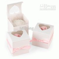 Wholesale white Mini Cupcake Favor Boxes White Party Cupcake Boxes with Heart Window on Top