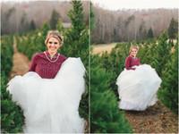 Polyester army wedding dresses - Plus Size Country Wedding Dresses Ball Gown Bridal Dresses Floor Length Tulle Skirt For Women High Waist Long Skirt Sweep Train