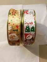 Wholesale 100 Yards Roll mm Christmas Ornament Christmas Ribbons Printing Ribbon Adornos Navidad Arvore De Natal