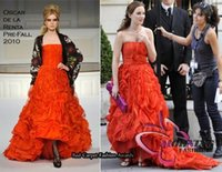 Wholesale Morning Fashion blake lively Leighton Meester Gossip Girl Blair PromGown Red Strapless Celebrity Dresses Ruched Hot Sale Party Gowns
