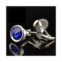 Wholesale FC Jewellery blue crystal diamond encrusted cufflinks male French cuff links cufflink for men s Gift YW