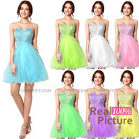 best cocktail party - Best Selling In Stock Prom Dresses Sweetheart Crystal Beads A Line Short Sky Blue Yellow Lilac Green Yellow Cheap Cocktail Party Gowns
