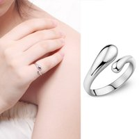 Wholesale Lover rings Fashion Water Drops Shape Stainless Steel Promise Ring New Fashion Jewelry open Dual Round Ring