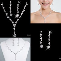 Wholesale Bling Bling Jewelry Necklace and Earring Set Silver plated Rhinestone Crystal Birdal Jewelry New Bling Wedding Party Bridal Jewelry Set