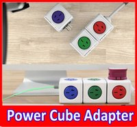 Wholesale 2015 New Power Cube Allocator Adaptor USB Ports Charger Sockets USB power socket magic cube plug High Quality Green