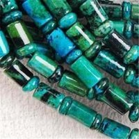 Wholesale 6x9mm Azurite Chrysocolla Gem Column Loose Bead inch QF3619