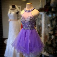 Wholesale PurpleTulle Short Party Dresses Myriam Fares A Line High Neck Sparkly Glitter Beads Cocktail Formal Homecoming Dress