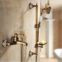 bathtub base - Wall Mounted Antique Brass Sliding Bar Bathtub Mixer Single Handle Ceramic Base