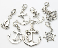 antique boat - MIC Antique Silver Mix Cute Sailing Boat Rudder Charms Lobster Claw Clasp Heart Floating Charm Components