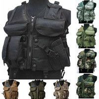 airsoft protective vest - Tactical vest Utility Safety Black US navy seal modular load swat assault Military Airsoft Combat hunting police gun holster Protective vest