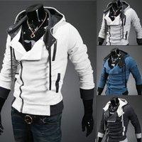 hoodies wholesale - 2013 HOT monde Korea Men s Hoodie Sweatshirts Rabbit Hair Collar Oblique Zipper plus size Men s Jacket men s Coats men s outwear black
