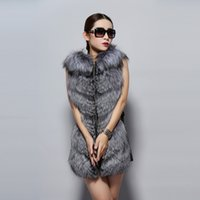 Wholesale Fur Story new Arrival Fashion Design Real Silver Fox Fur Vest with Hood Genuine Sheep Leather Long Winter Women Vest