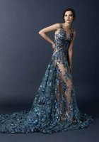 blue prom dresses - Paolo Sebastian Prom Dresses Mermaid Applique Beaded Beach Dresses Party Evening Sequined V Neck Sleeveless Organza Cheap Prom Dresses