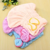 Wholesale Bathing Vevet Shower Hair Cap Dry Water AbsorptionBathing Bowknot Hat Tool Lady Cute Wrapped Towel Lovely Women Magic Quick