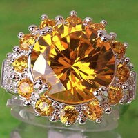 Wholesale Youthful Sunflower Lady Light Yellow Rings Side Stones Round Cut Citrine White Topaz Gemstone Sliver Plated Size Wedding Ring A0035 HOT