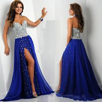 blue corset - 2015 Cheap Luxury Ritzee Originals Exquisite Sweetheart Zipper Split A line Long Royal Blue Crystals Beaded Pageant Corset Prom Dresses