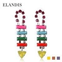 Wholesale fashion crystal geometric earrings colorful acrylic earrings drop earrings for women summer alloy earrings jewelry ER05584