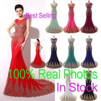 Wholesale In Stock Sheer Neck Formal Evening Prom Dresses Lace Appliques Mermaid Red Black Blue Mint Pageant Mother Gowns Real Image Arabic