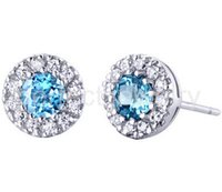Wholesale Blue topaz stud earring Natural real blue topaz earrings sterling silver Perfect Jewelry DH