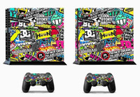 Cheap Fashion BOMB Bombing Graffiti Sticker Skins For Sony for PS4 Playstation 4 Console 2 Controller Gift
