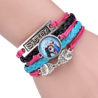 children charm bracelet - 2015 Antique Copper Sideways Charm Queen Elsa princess Anna snowman Olaf mix Bracelet Wristbands Party Child