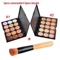 Wholesale 15Colors Concealer Facial Nautral Care Nake Glitter Makeup Palette Set with Beush Concealer Brush