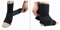 Wholesale Breathable elastic sports safety ankle support basketball football hiking muscle injury protection ankle bandage black M L XL