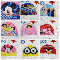 Wholesale 14 design Cool Cartoon New Fashion minions KT Superman Printing Children s Hats Swim Caps Boys Waterproof Caps LJJK58