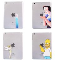 Wholesale For ipad mini Hard PC cartoon tablet case Snow white Elsa Stitch Simpson Tinker Bell MERMAID cover cases shell back free DHL
