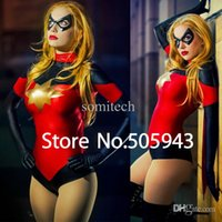 Wholesale DHL Moonstone Ms Marvel Dark Avenger Zentai Catsuit Costume Shiny Metallic Super Hero Cosplay Halloween Costume