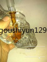 Wholesale 2015 Hot Crystal Skulls Vodka Bottles Top Head skull Shisha Hookahs recycler glass bongs cler glass bongs
