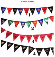 Wholesale Spiderman superman batman pennant flag Superhero Party Flag kids birthday party decoration Superhero banner triangle flag DDD2705