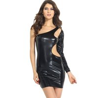 ball ramps - the United States nightclub dance sexy dress only sleeve ramps hollow bag hip personality leather