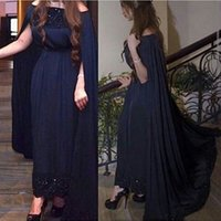 Wholesale China Dress Pattern - Graceful evening dresses 2016 With Cloak Navy Blue Saudi Arabia off the shoulder prom dress lace appliques beaded China formal gowns