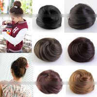 Wholesale 1602 One PC Black Light Brown Dark Brown Clip In Hair Bun Hairpiece Hair Extension Sale