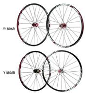 Wholesale Black Red Bicycle Wheel H Disc Brake Bike Wheel MTB Mountain Bicycle Bike Wheelset Hubs Rim Front Rear Set Lightweight Y1806