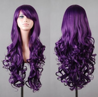 Wholesale High temperature silk purple lady wig hood fashion long curly hair ball freely adjustable head circumference size woman wig cm