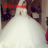 big ball caps - Vintage White Sheer Lace Big Ball Gown Wedding Dresses With Sheer Long Sleeves Off Shoulder Tulle Bridal Dress Gown Court Train