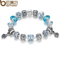 Bamoer Pulsera Estilo Europeo 925 pulsera del encanto de la Mujer con joyería de los granos de cristal de Murano DIY de la alta calidad 2015 de Hotsale