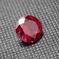 Wholesale AAAAA top quality ruby gestones round brilliant cut rose red ruby Synthetic Corundum faceted gemstone beads for jewelry making diy